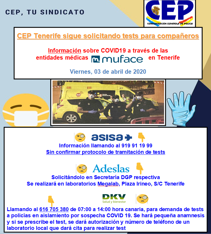 CEP sigue solicitando tests para compañeros